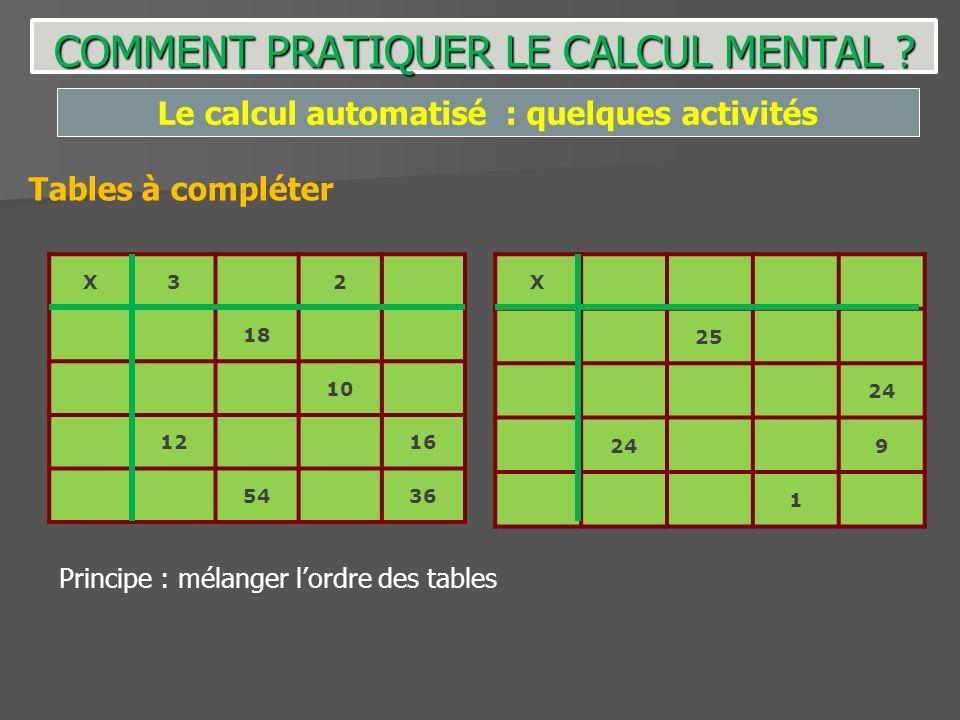 COMMENT PRATIQUER LE CALCUL MENTAL ? Le calcul automatisé : quelques activités Tables à compléter X32 18 10 1216 5436 X 25 24 9 1 Principe : mélanger