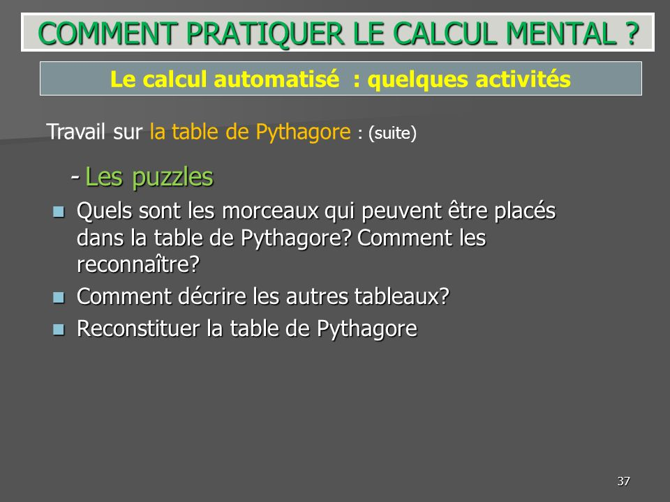 37 - Les puzzles - Les puzzles Quels sont les morceaux qui peuvent être placés dans la table de Pythagore? Comment les reconnaître? Quels sont les mor