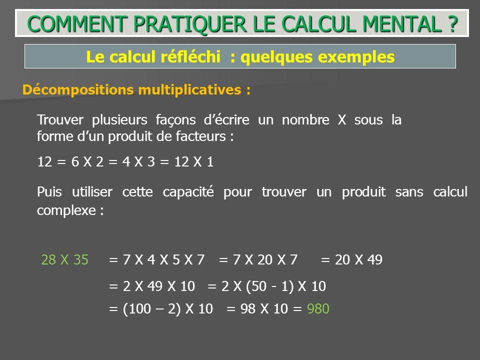 Puis utiliser cette capacité pour trouver un produit sans calcul complexe : 28 X 35 Le calcul réfléchi : quelques exemples Décompositions multiplicati