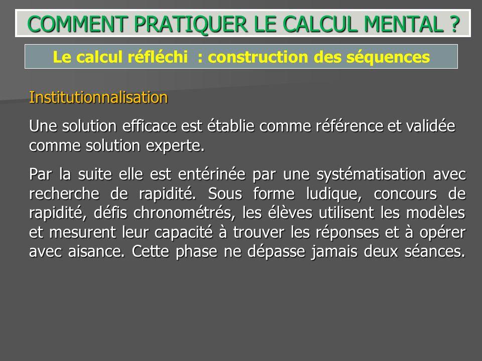Institutionnalisation Une solution efficace est établie comme référence et validée comme solution experte. Par la suite elle est entérinée par une sys