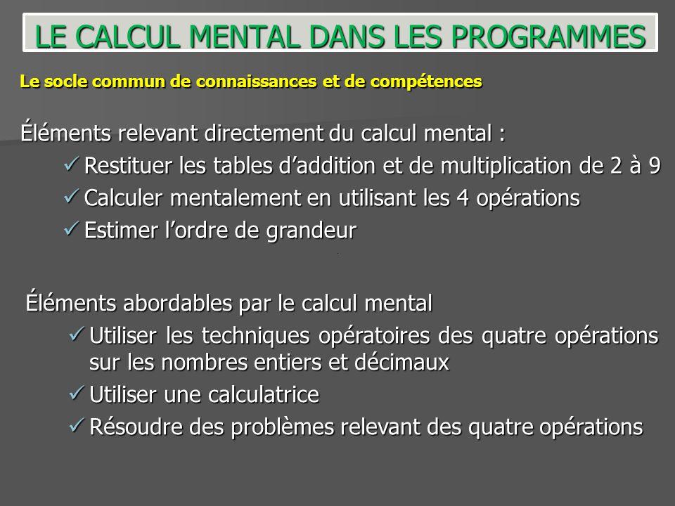 Éléments abordables par le calcul mental Utiliser les techniques opératoires des quatre opérations sur les nombres entiers et décimaux Utiliser les te