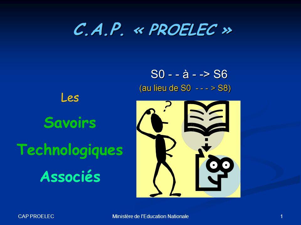 CAP PROELEC 1Ministère de l'Education Nationale Les Savoirs Technologiques Associés C.A.P. « PROELEC » S0 - - à - -> S6 (au lieu de S0 - - - > S8)