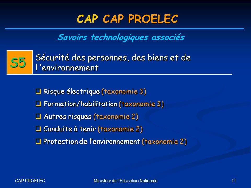 CAP PROELEC 11Ministère de l'Education Nationale CAP CAP PROELEC Savoirs technologiques associés S5 Sécurité des personnes, des biens et de l environn