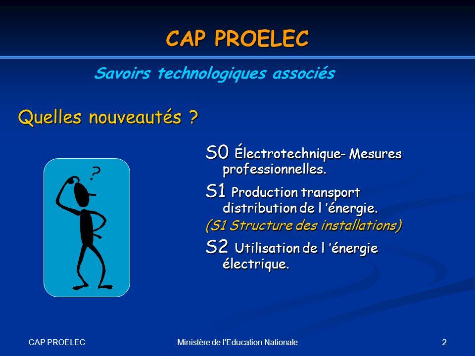 CAP PROELEC 2Ministère de l'Education Nationale Quelles nouveautés ? S0 Électrotechnique- Mesures professionnelles. S1 Production transport distributi