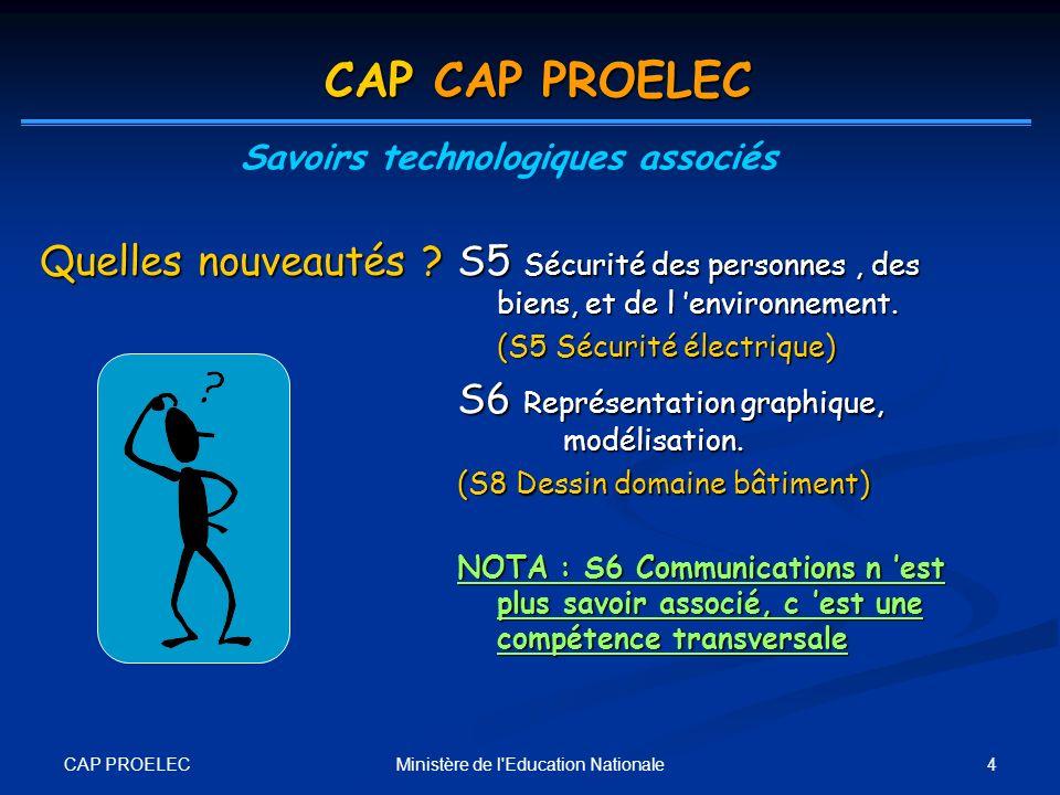 CAP PROELEC 4Ministère de l'Education Nationale S5 Sécurité des personnes, des biens, et de l environnement. (S5 Sécurité électrique) S6 Représentatio