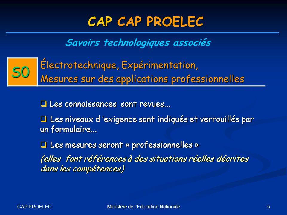 CAP PROELEC 5Ministère de l'Education Nationale CAP CAP PROELEC Savoirs technologiques associés S0 Électrotechnique, Expérimentation, Mesures sur des