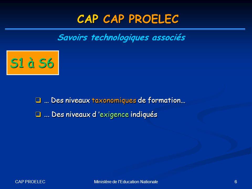 CAP PROELEC 6Ministère de l'Education Nationale CAP CAP PROELEC Savoirs technologiques associés S1 à S6 … Des niveaux taxonomiques de formation… … Des