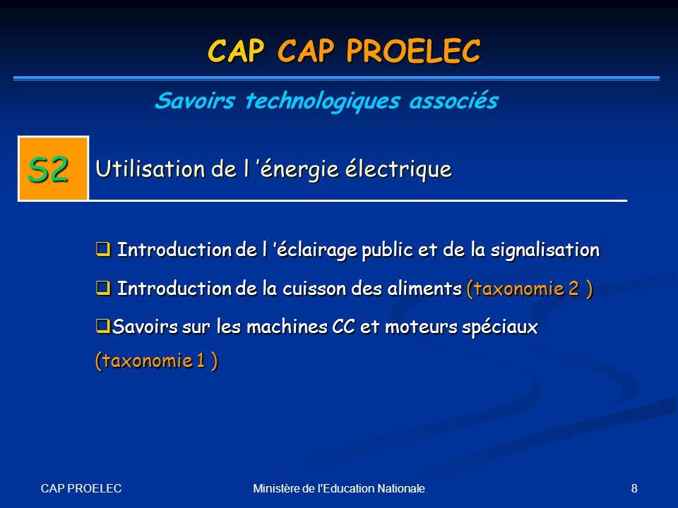CAP PROELEC 9Ministère de l Education Nationale CAP CAP PROELEC Savoirs technologiques associés S3 Installations et équipements électriques Canalisation électrique (taxonomie 4) Canalisation électrique (taxonomie 4) Étude de l appareillage B T à partir des fonctions: Étude de l appareillage B T à partir des fonctions: - Protection, commande, coupure …) (taxonomie 2) - Raccordements, (taxonomie 3) - Gestion de l énergie, (taxonomie 2) - Conversion de l énergie (taxonomie 2)