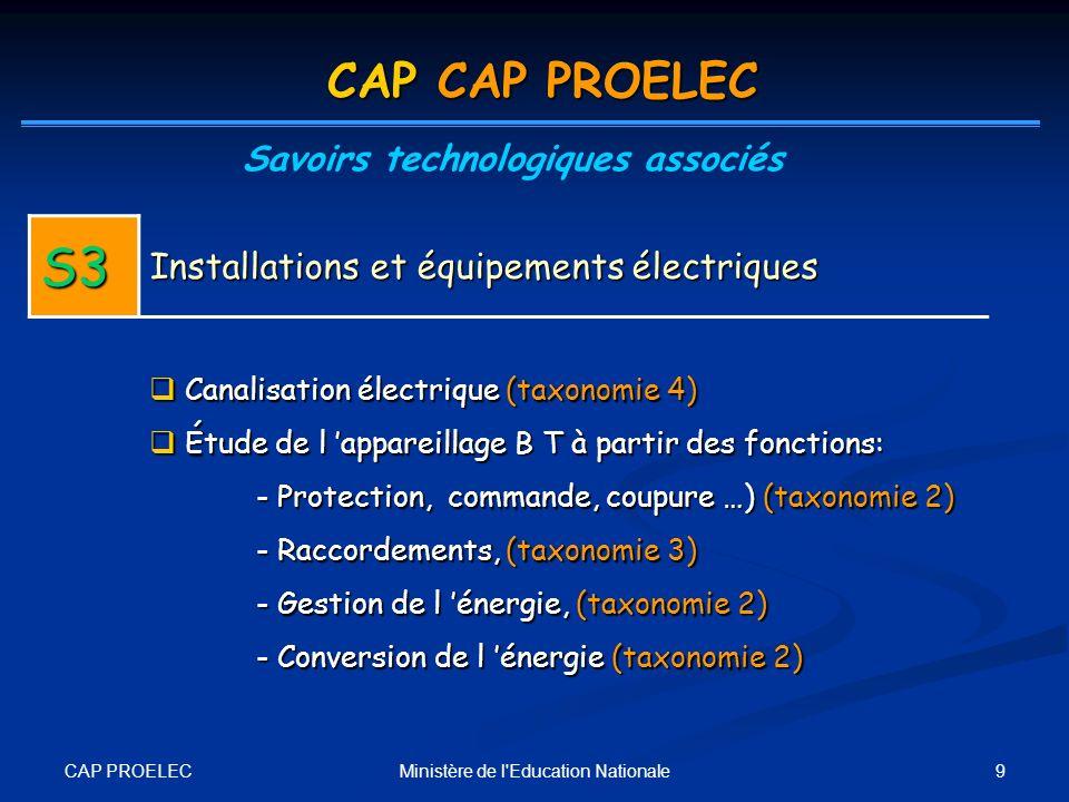 CAP PROELEC 9Ministère de l'Education Nationale CAP CAP PROELEC Savoirs technologiques associés S3 Installations et équipements électriques Canalisati