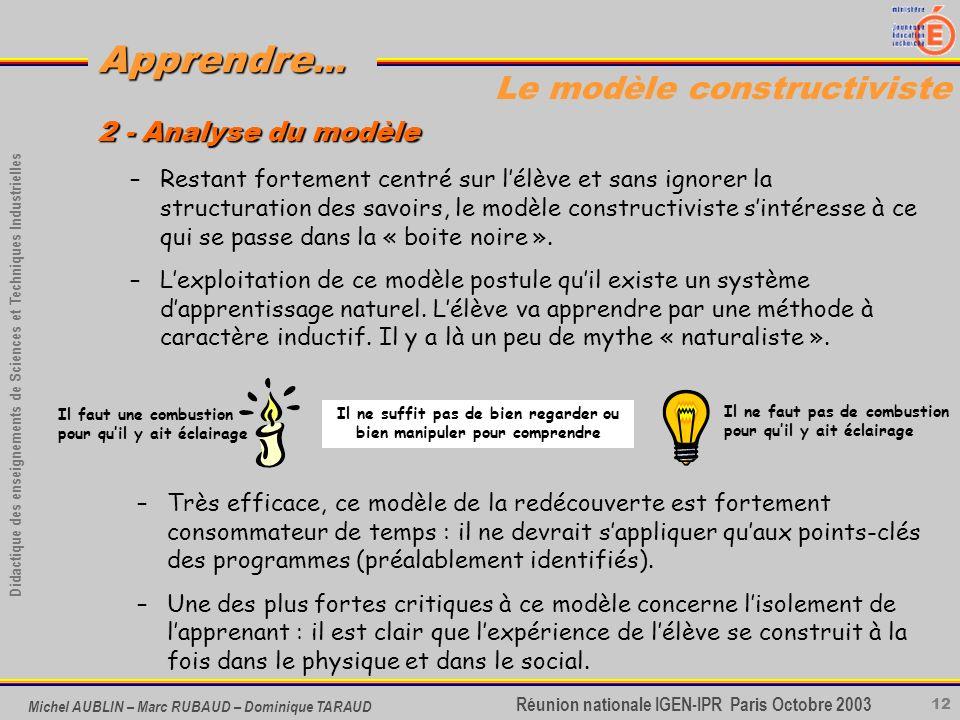 12 Didactique des enseignements de Sciences et Techniques Industrielles Apprendre... Réunion nationale IGEN-IPR Paris Octobre 2003 Michel AUBLIN – Mar