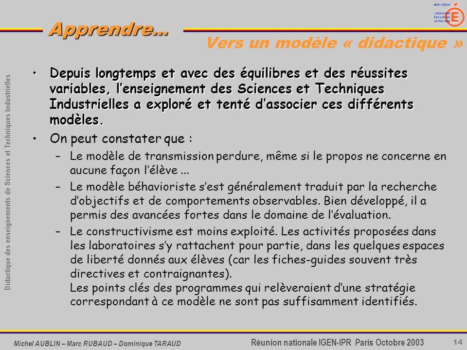 14 Didactique des enseignements de Sciences et Techniques Industrielles Apprendre... Réunion nationale IGEN-IPR Paris Octobre 2003 Michel AUBLIN – Mar