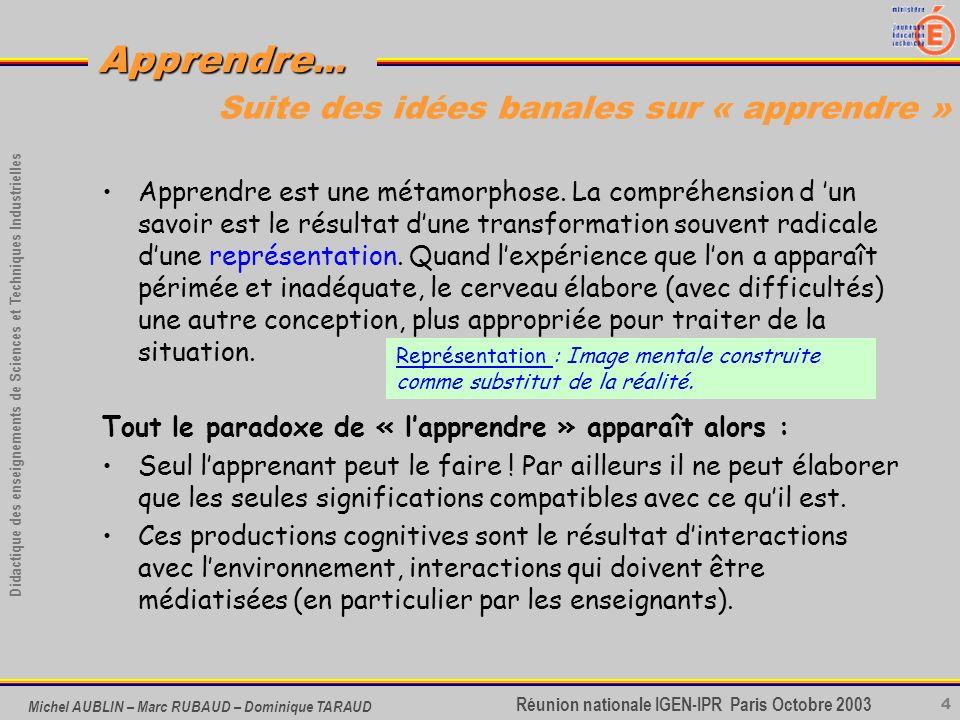 4 Didactique des enseignements de Sciences et Techniques Industrielles Apprendre... Réunion nationale IGEN-IPR Paris Octobre 2003 Michel AUBLIN – Marc