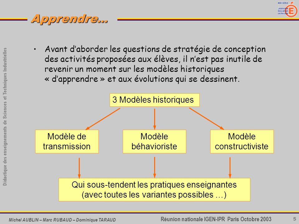 5 Didactique des enseignements de Sciences et Techniques Industrielles Apprendre... Réunion nationale IGEN-IPR Paris Octobre 2003 Michel AUBLIN – Marc