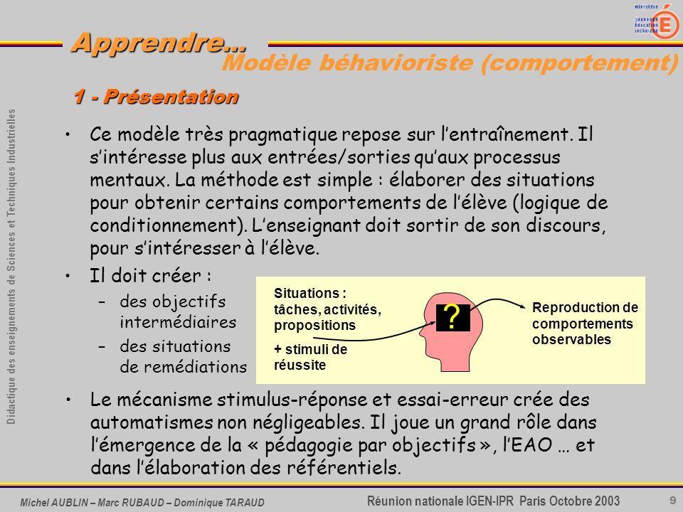 9 Didactique des enseignements de Sciences et Techniques Industrielles Apprendre... Réunion nationale IGEN-IPR Paris Octobre 2003 Michel AUBLIN – Marc