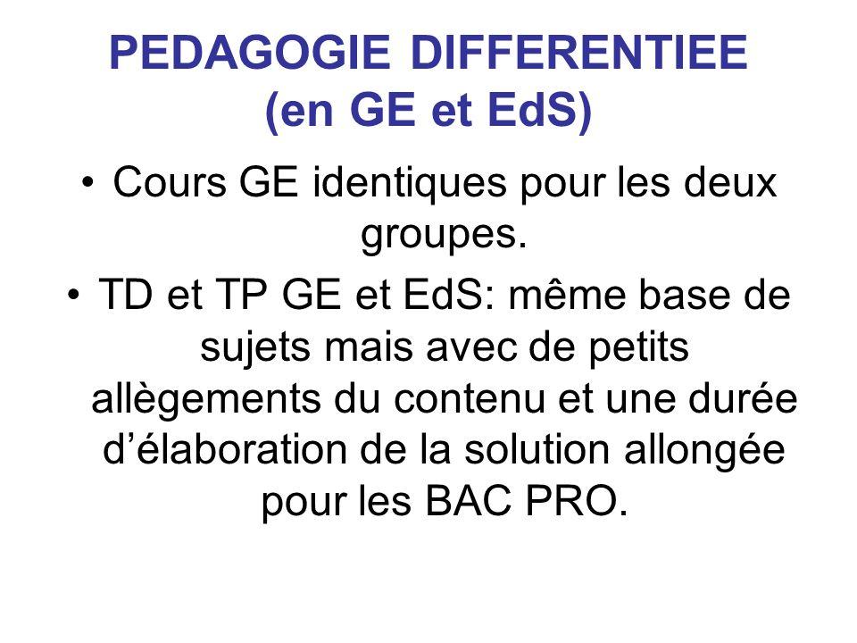 PEDAGOGIE DIFFERENTIEE (en GE et EdS) Cours GE identiques pour les deux groupes.