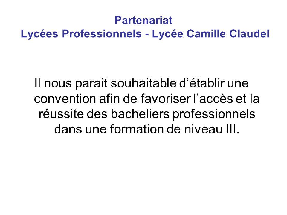 Partenariat Lycées Professionnels - Lycée Camille Claudel Il nous parait souhaitable détablir une convention afin de favoriser laccès et la réussite des bacheliers professionnels dans une formation de niveau III.
