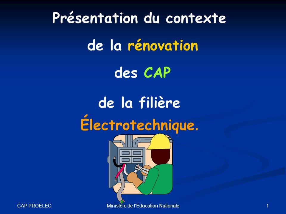 CAP PROELEC 1Ministère de l'Education Nationale Présentation du contexte de la rénovation des CAP de la filière Électrotechnique.