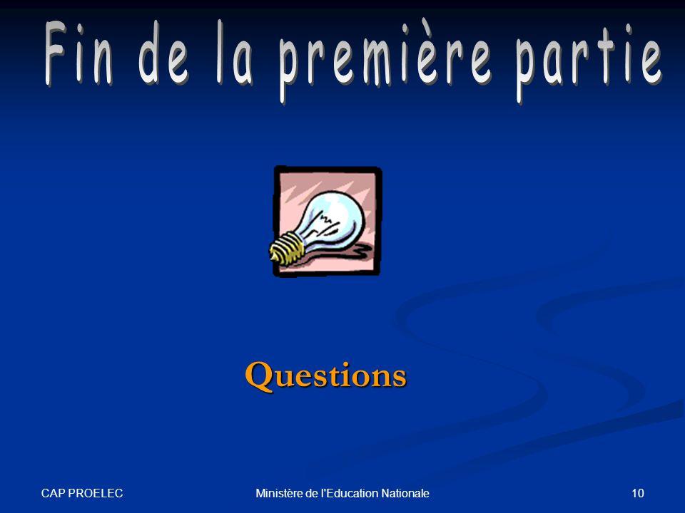 CAP PROELEC 10Ministère de l'Education Nationale Questions