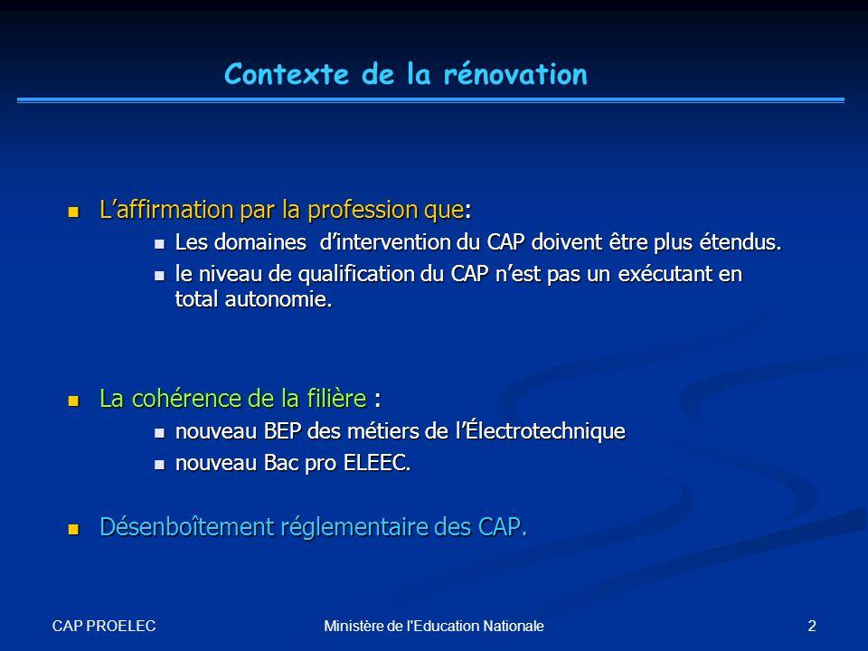 CAP PROELEC 2Ministère de l'Education Nationale Laffirmation par la profession que: Laffirmation par la profession que: Les domaines dintervention du