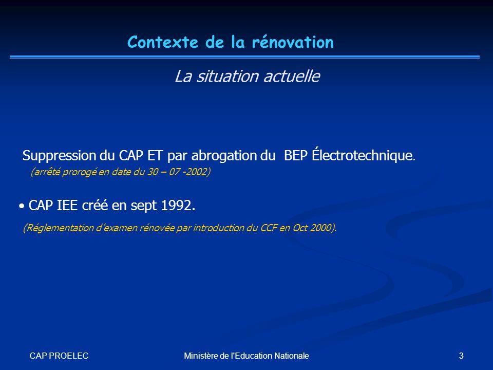 CAP PROELEC 3Ministère de l'Education Nationale Suppression du CAP ET par abrogation du BEP Électrotechnique. (arrêté prorogé en date du 30 – 07 -2002