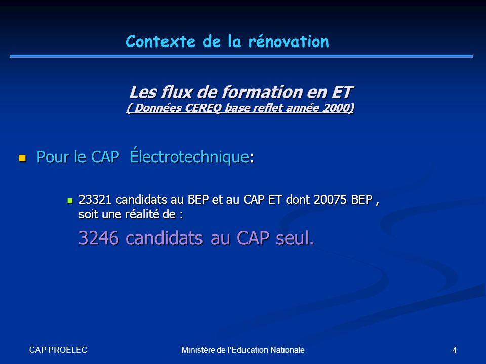 CAP PROELEC 4Ministère de l'Education Nationale Les flux de formation en ET ( Données CEREQ base reflet année 2000) Pour le CAP Électrotechnique: Pour