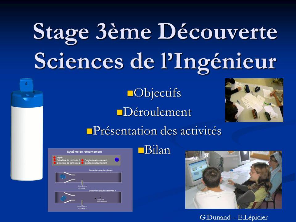 Stage 3ème Découverte Sciences de lIngénieur Objectifs Objectifs Déroulement Déroulement Présentation des activités Présentation des activités Bilan B