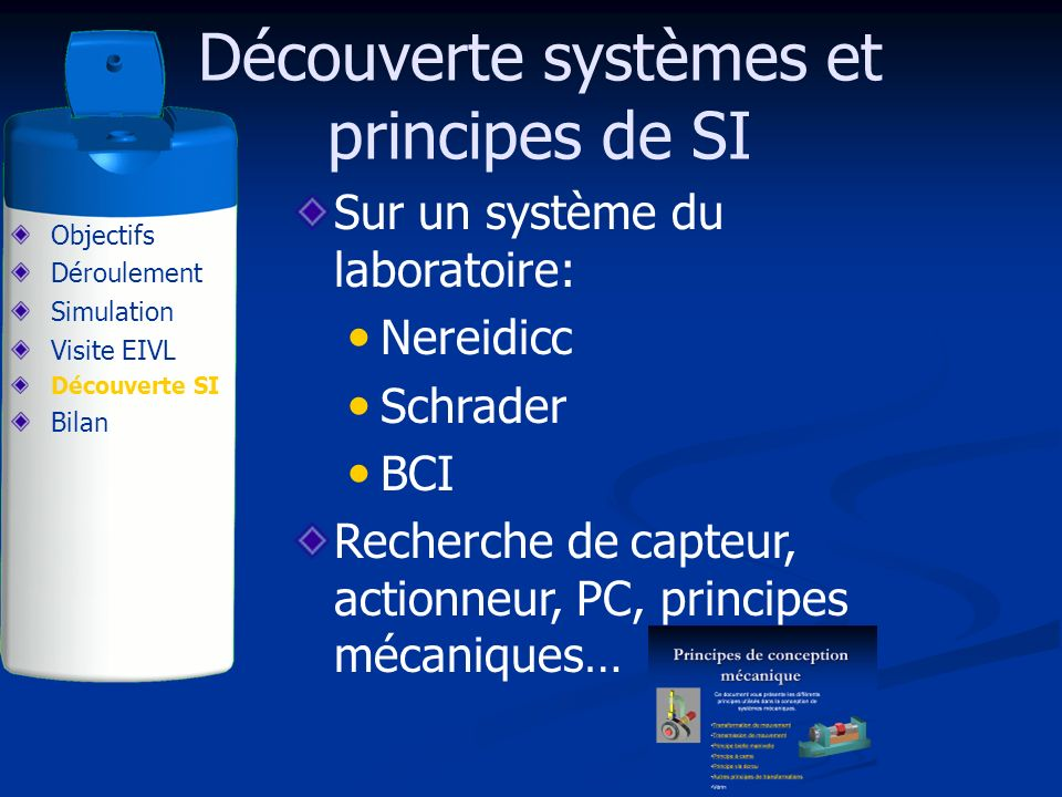 Sur un système du laboratoire: Nereidicc Schrader BCI Recherche de capteur, actionneur, PC, principes mécaniques… Découverte systèmes et principes de