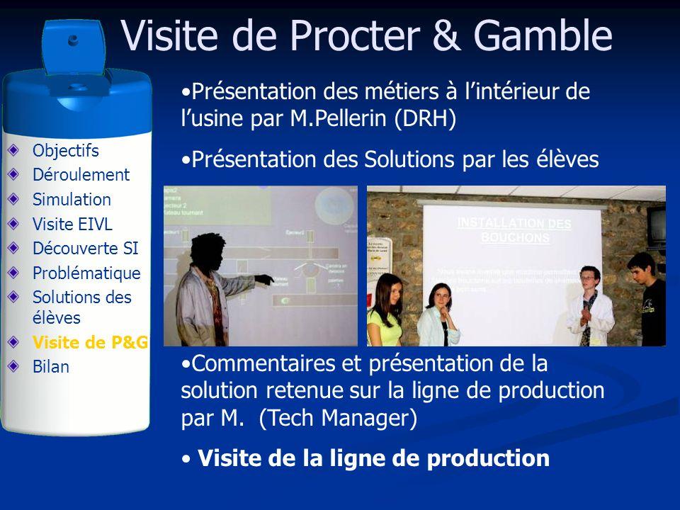 Visite de Procter & Gamble Présentation des métiers à lintérieur de lusine par M.Pellerin (DRH) Présentation des Solutions par les élèves Commentaires