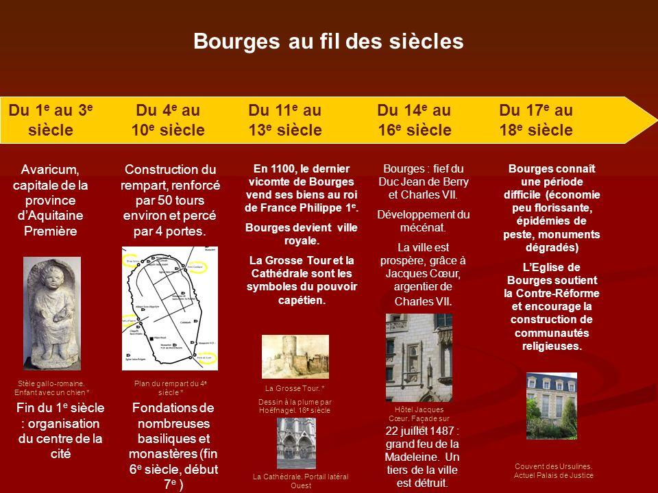 Bourges au fil des siècles Du 1 e au 3 e siècle Avaricum, capitale de la province dAquitaine Première Fin du 1 e siècle : organisation du centre de la