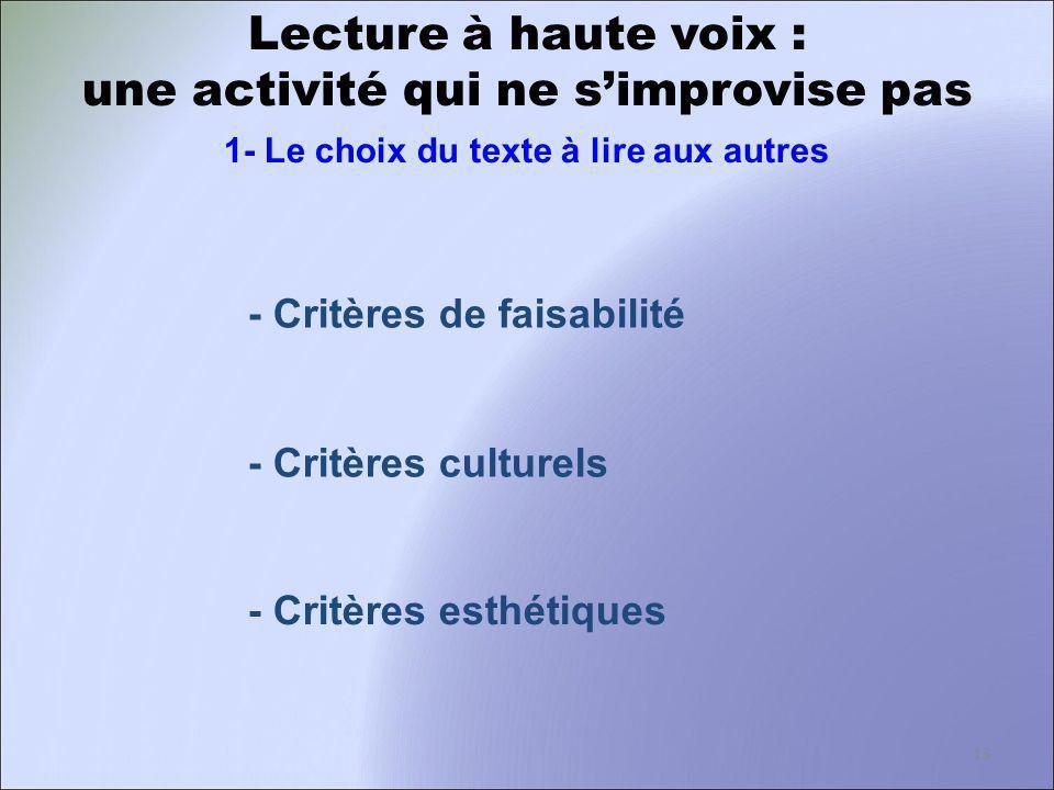 Lecture à haute voix : une activité qui ne simprovise pas 1- Le choix du texte à lire aux autres - Critères de faisabilité - Critères culturels - Crit
