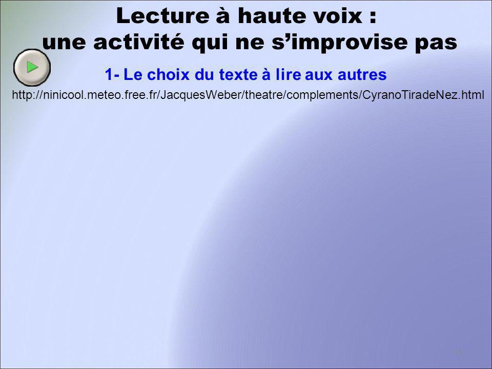 Lecture à haute voix : une activité qui ne simprovise pas 1- Le choix du texte à lire aux autres http://ninicool.meteo.free.fr/JacquesWeber/theatre/co