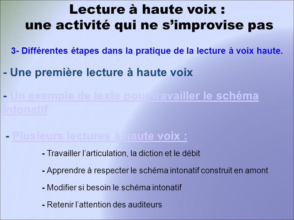 Lecture à haute voix : une activité qui ne simprovise pas 3- Différentes étapes dans la pratique de la lecture à voix haute. - Une première lecture à