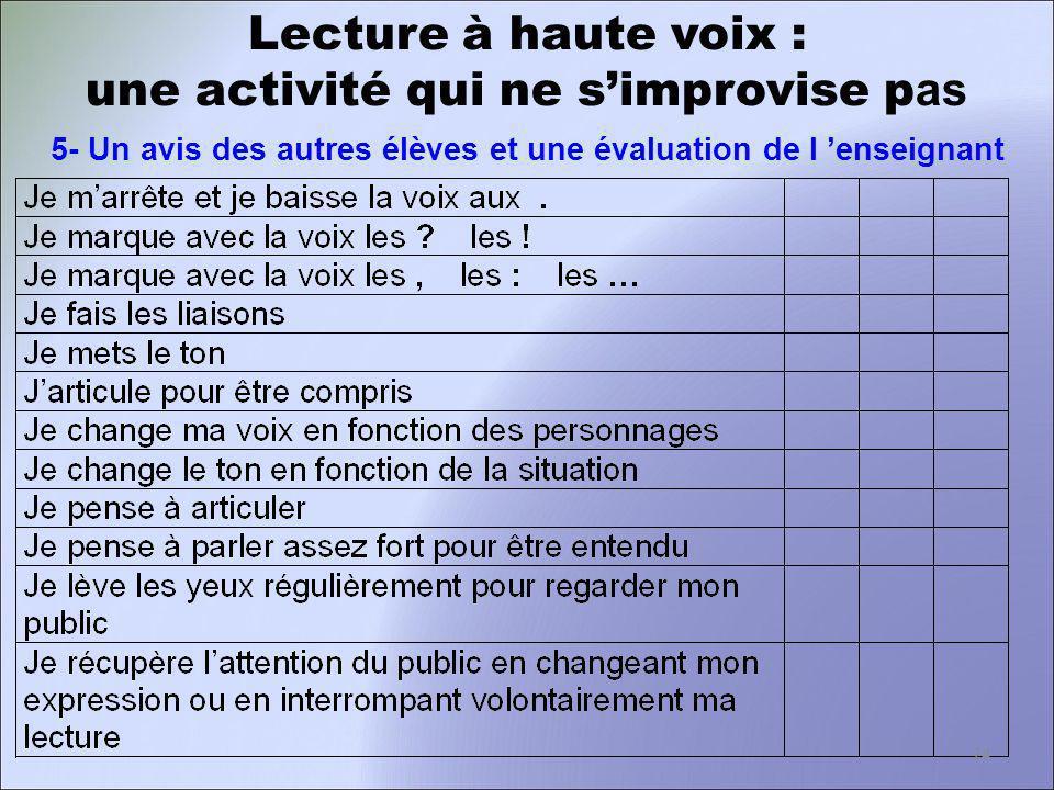 Lecture à haute voix : une activité qui ne simprovise p as 5- Un avis des autres élèves et une évaluation de l enseignant 24