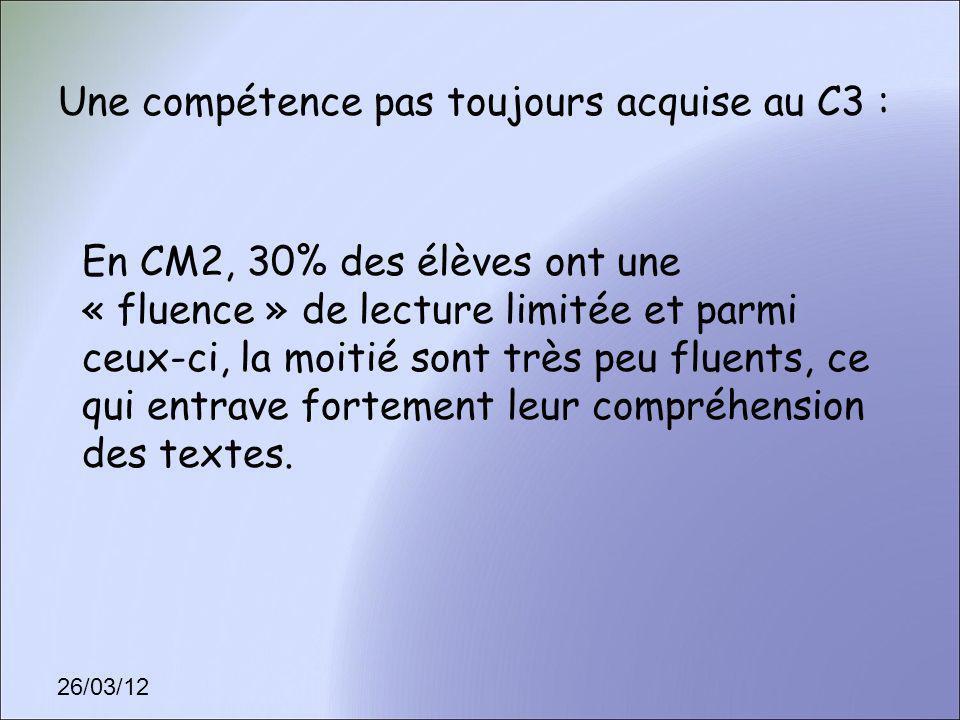 26/03/12 Une compétence pas toujours acquise au C3 : En CM2, 30% des élèves ont une « fluence » de lecture limitée et parmi ceux-ci, la moitié sont tr