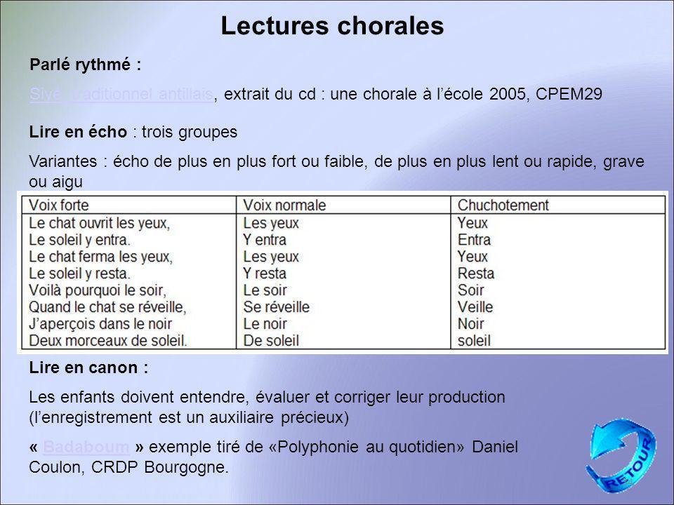 Lectures chorales Parlé rythmé : Siyé, traditionnel antillaisSiyé, traditionnel antillais, extrait du cd : une chorale à lécole 2005, CPEM29 Lire en c
