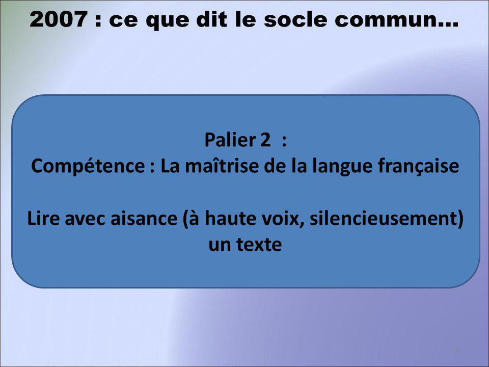 Palier 2 : Compétence : La maîtrise de la langue française Lire avec aisance (à haute voix, silencieusement) un texte 2007 : ce que dit le socle commu