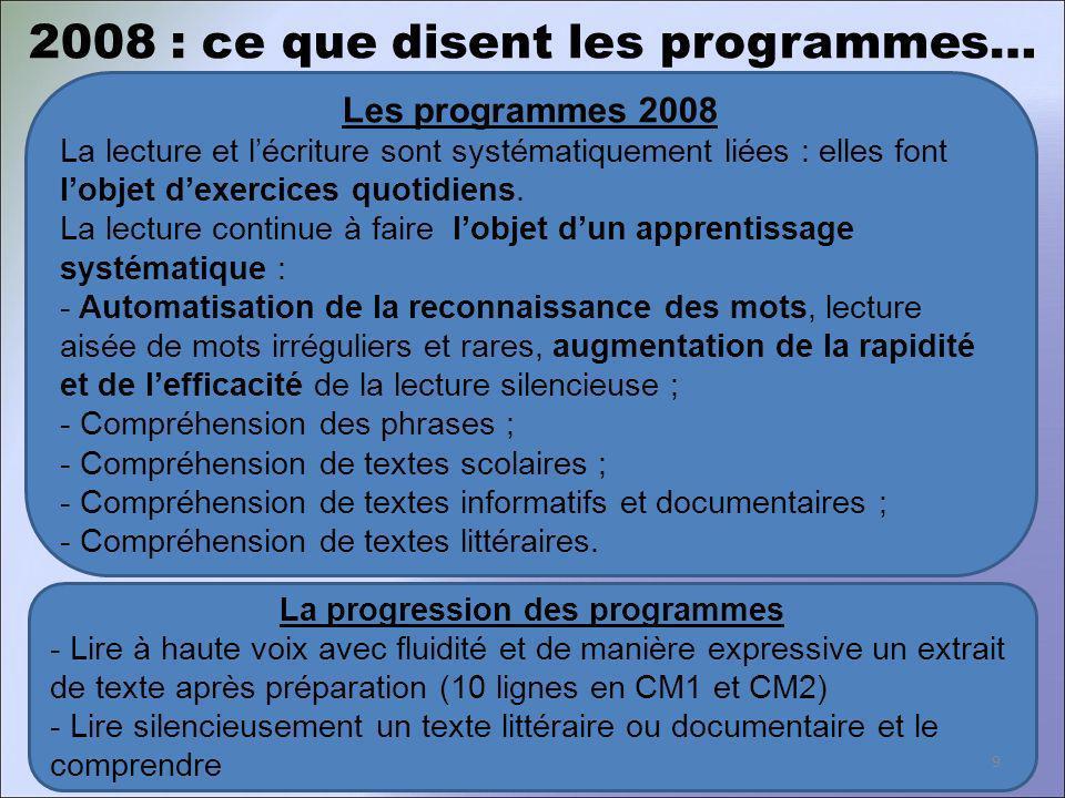 Les programmes 2008 La lecture et lécriture sont systématiquement liées : elles font lobjet dexercices quotidiens. La lecture continue à faire lobjet