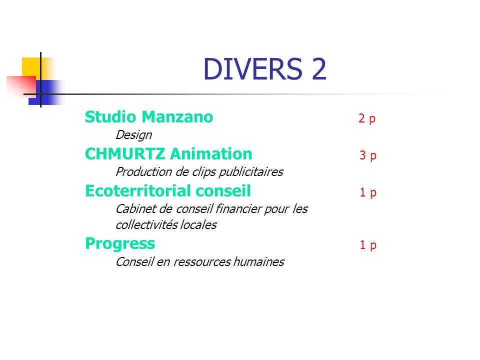 Studio Manzano 2 p Design CHMURTZ Animation 3 p Production de clips publicitaires Ecoterritorial conseil 1 p Cabinet de conseil financier pour les col