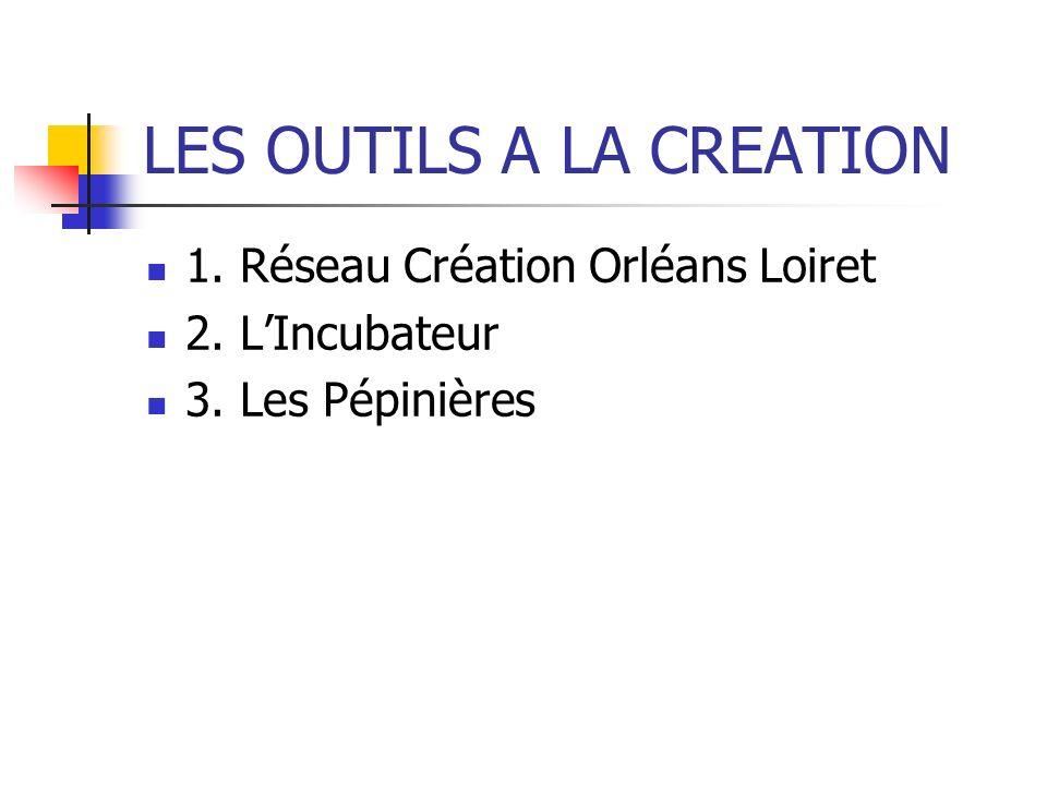 LES OUTILS A LA CREATION 1. Réseau Création Orléans Loiret 2. LIncubateur 3. Les Pépinières