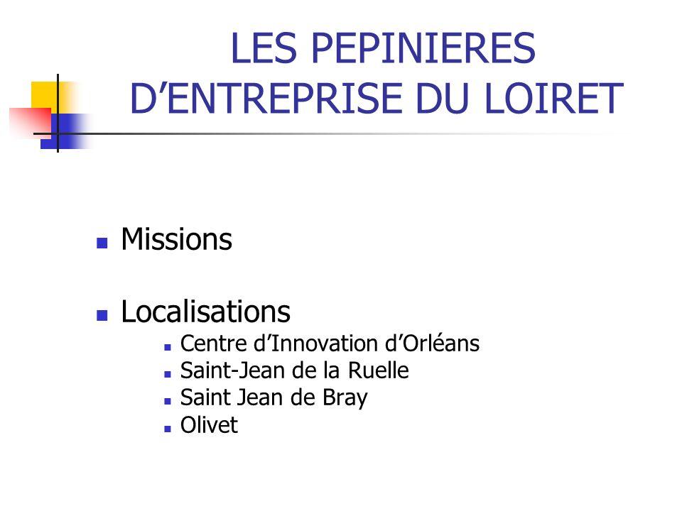 LES PEPINIERES DENTREPRISE DU LOIRET Missions Localisations Centre dInnovation dOrléans Saint-Jean de la Ruelle Saint Jean de Bray Olivet