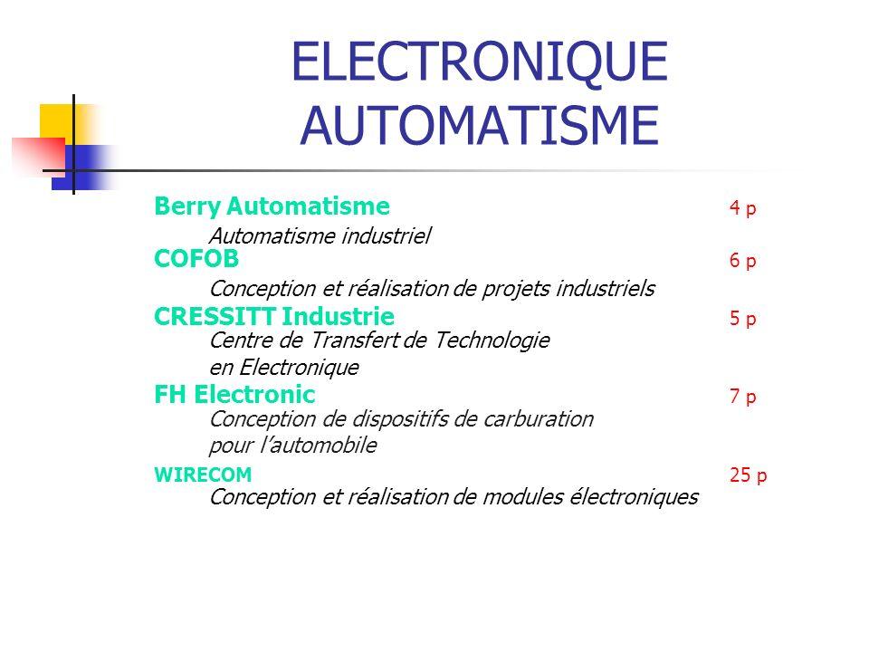 ELECTRONIQUE AUTOMATISME Berry Automatisme 4 p Automatisme industriel COFOB 6 p Conception et réalisation de projets industriels CRESSITT Industrie 5