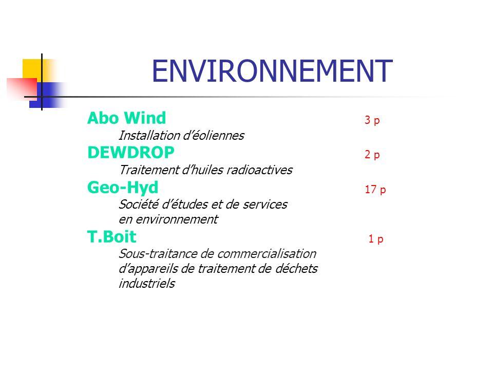 ENVIRONNEMENT Abo Wind 3 p Installation déoliennes DEWDROP 2 p Traitement dhuiles radioactives Geo-Hyd 17 p Société détudes et de services en environn