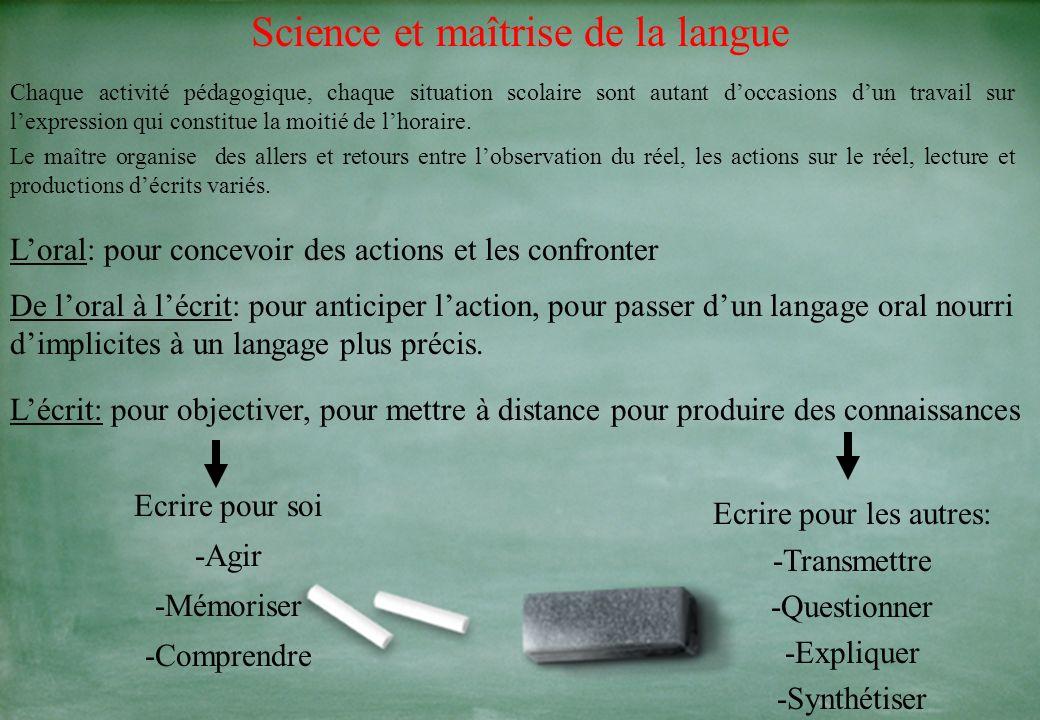 Science et maîtrise de la langue Chaque activité pédagogique, chaque situation scolaire sont autant doccasions dun travail sur lexpression qui constitue la moitié de lhoraire.