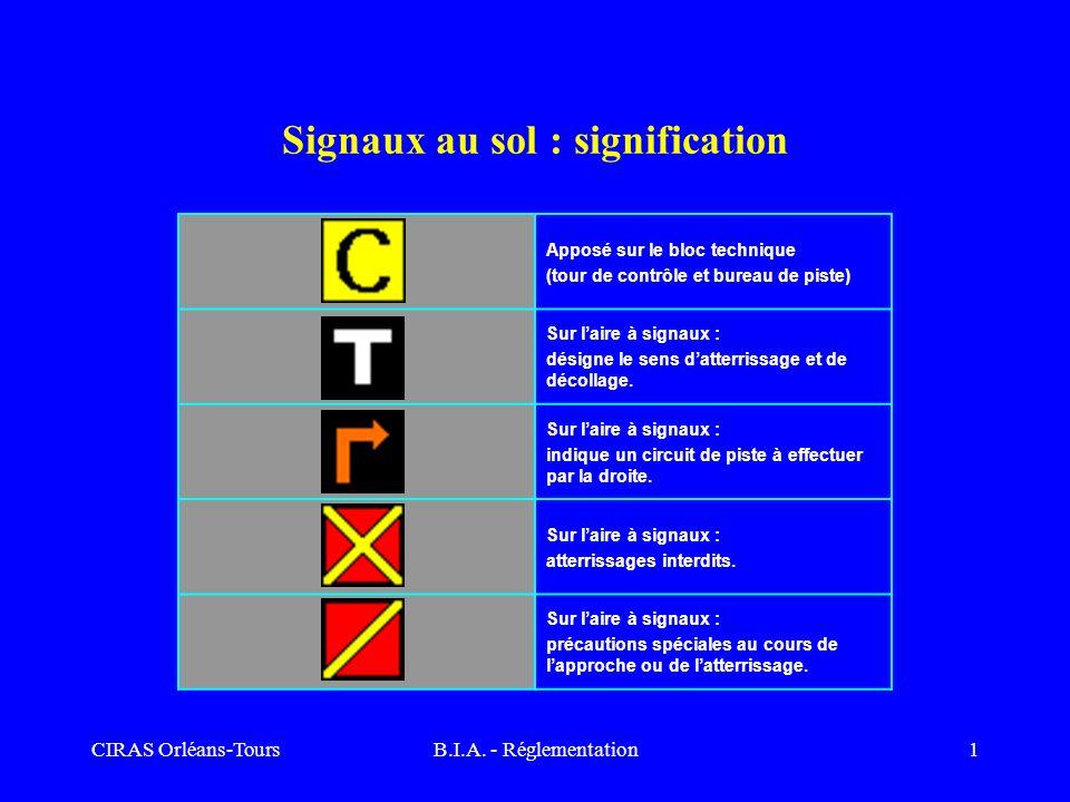 CIRAS Orléans-ToursB.I.A. - Réglementation1 Signaux au sol : signification Apposé sur le bloc technique (tour de contrôle et bureau de piste) Sur lair