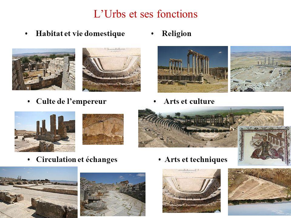 LUrbs et ses fonctions Habitat et vie domestiqueReligion Culte de lempereur Circulation et échanges Arts et culture Arts et techniques