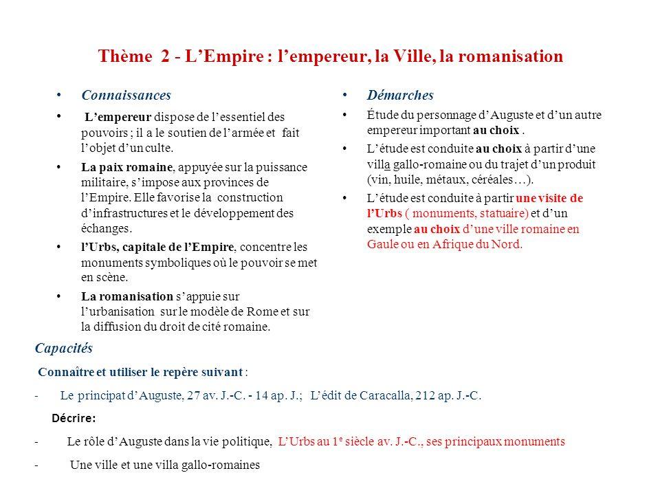 Thème 2 - LEmpire : lempereur, la Ville, la romanisation Connaissances Lempereur dispose de lessentiel des pouvoirs ; il a le soutien de larmée et fai
