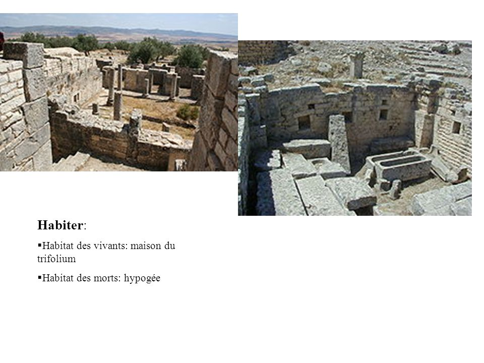 Habiter: Habitat des vivants: maison du trifolium Habitat des morts: hypogée