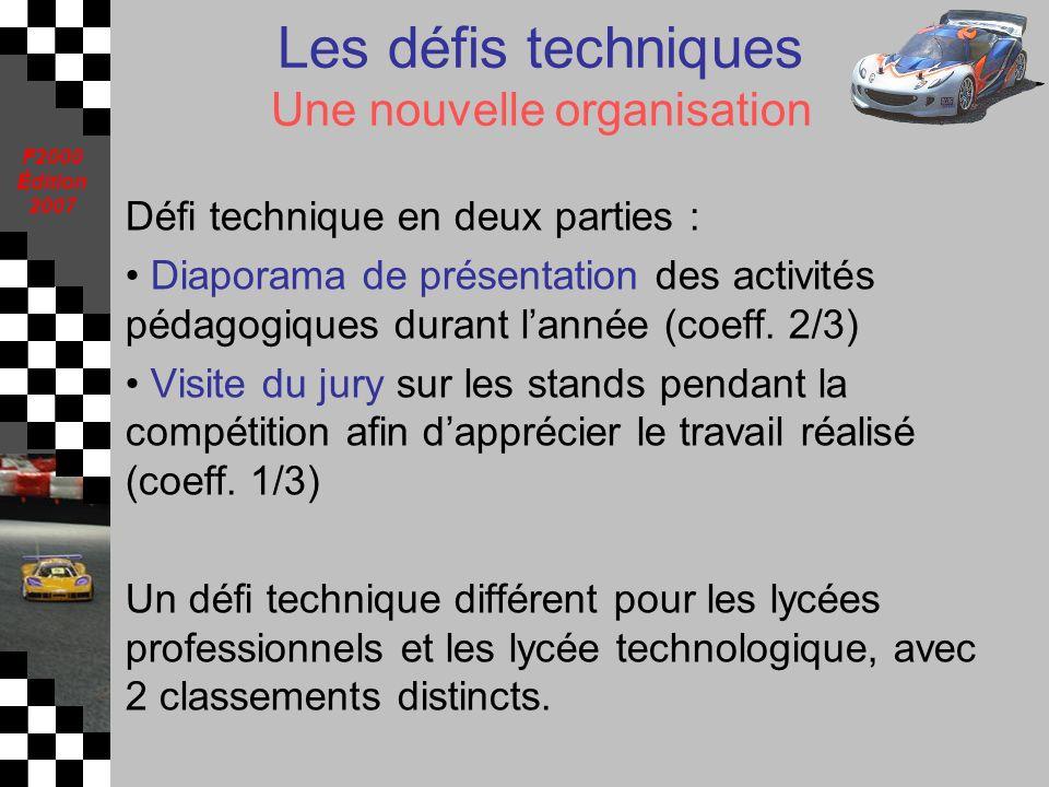 F2000 Édition 2007 Les défis techniques Une nouvelle organisation Défi technique en deux parties : Diaporama de présentation des activités pédagogique