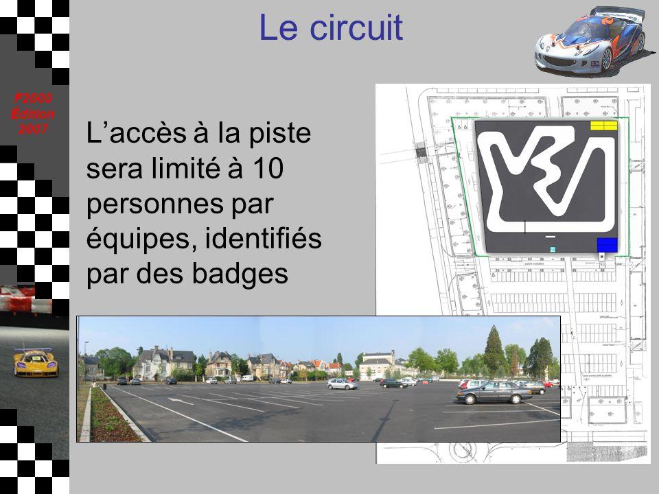 F2000 Édition 2007 Le circuit Laccès à la piste sera limité à 10 personnes par équipes, identifiés par des badges