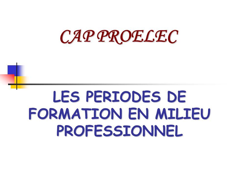 LES PERIODES DE FORMATION EN MILIEU PROFESSIONNEL CAP PROELEC